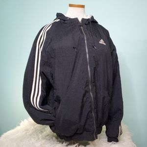 Vintage hooded ADIDAS 3 stripe jacket XL